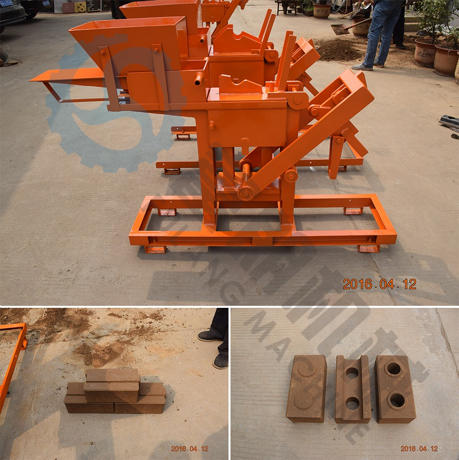 FL1-40 manual press interlocking brick machine testing for Customer from US
