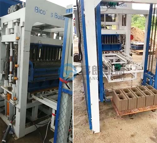 The installation of QTF4-18 automatic cement concrete block machine has finished in Belize