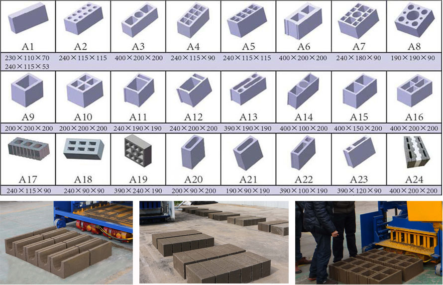 block making machine brick samples
