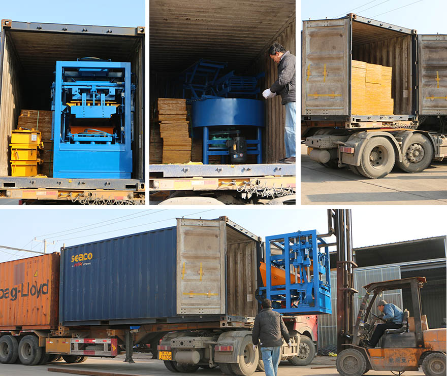 packing  and delivery QTF4-24 hollow block machine to Tanzania